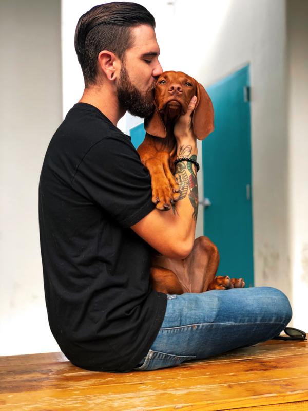 ダックスフントを抱き抱えてキスする男性